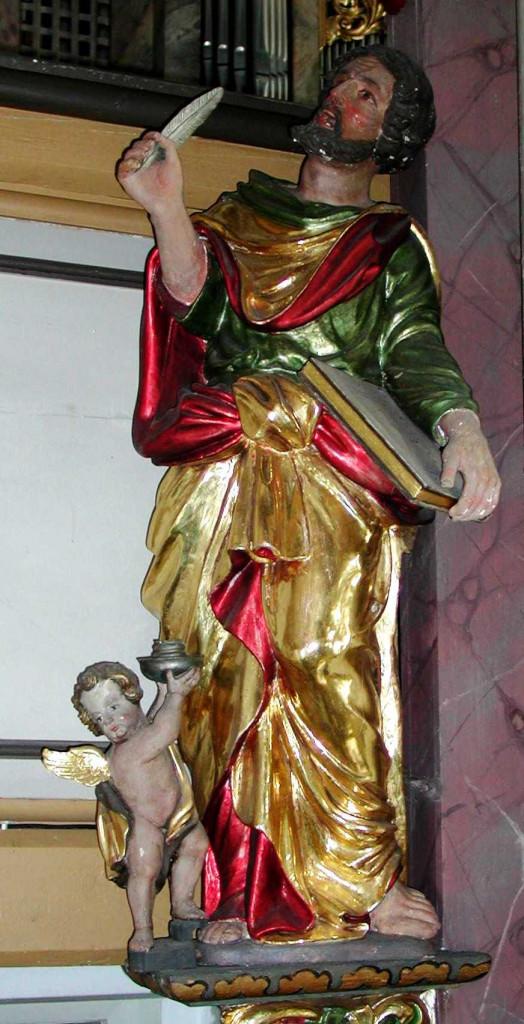 Evanglist Matthäus mit Engel, links unten